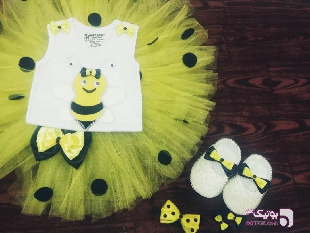 پیراهن توتو زرد لباس کودک دخترانه