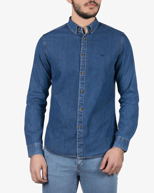 پیراهن جین مردانه سورمه ای پيراهن مردانه