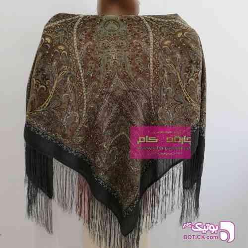 روسری ترکمنی طرح ایتالیایی قهوه ای شال و روسری