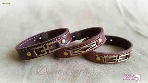 دستبند چرمی مشکی كيف مردانه