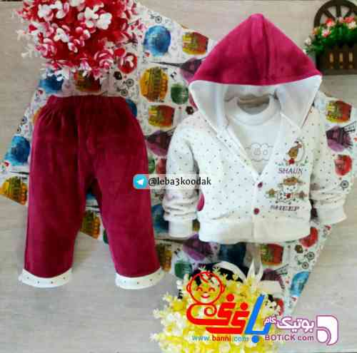 سوییشرت مخمل دخترونه بنفش لباس کودک دخترانه
