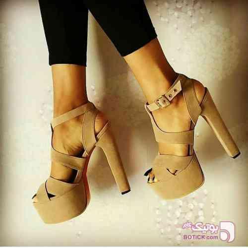 کفش مجلسی پاشنه ده سانت کرم كفش زنانه