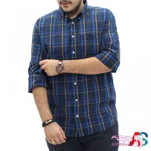 پیراهن سایز بزرگ آستین بلند exn123 سفید سایز بزرگ مردانه
