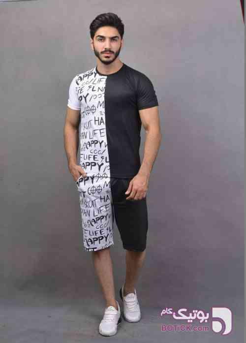 تيشرت و شلوارك HAPPY LIFE مشکی لباس راحتی مردانه