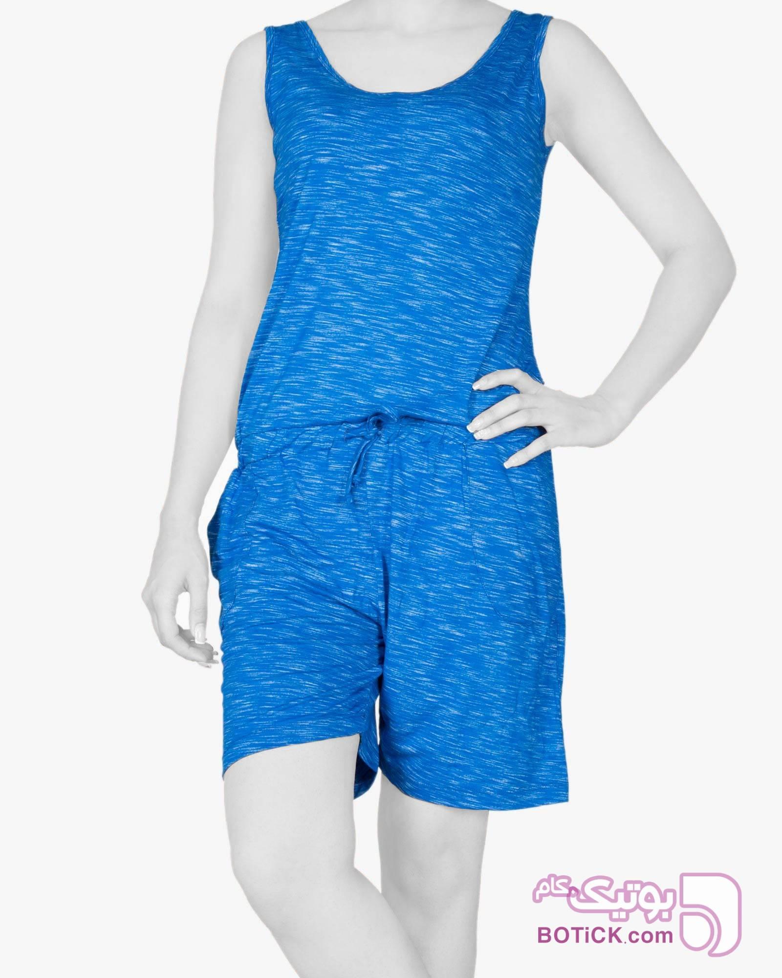 سرهمی زنانه اسپرت کوتاه آبی ست ورزشی زنانه