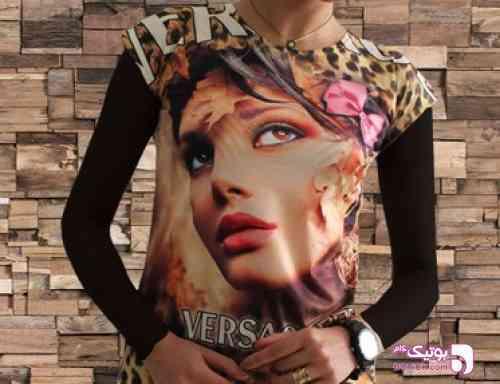 تیشرت طرح دار TIFANI مشکی تی شرت زنانه