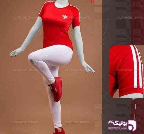 ست تیشرت و شلوار زنانه Adidas Z8095  قرمز ست ورزشی زنانه