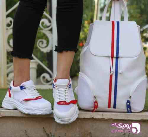 ست کفش و کوله Baleciaga زنانه قرمز ست ورزشی زنانه