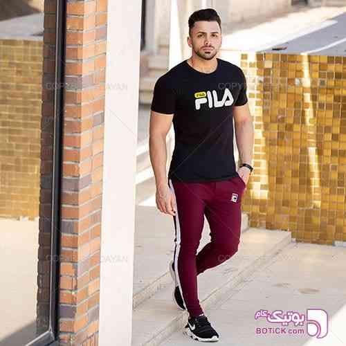 ست تیشرت و شلوار مردانه Fila مدل Elvin مشکی ست ورزشی مردانه