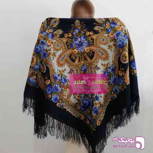 روسری ترکمنی پشمی اصیل آبی شال و روسری