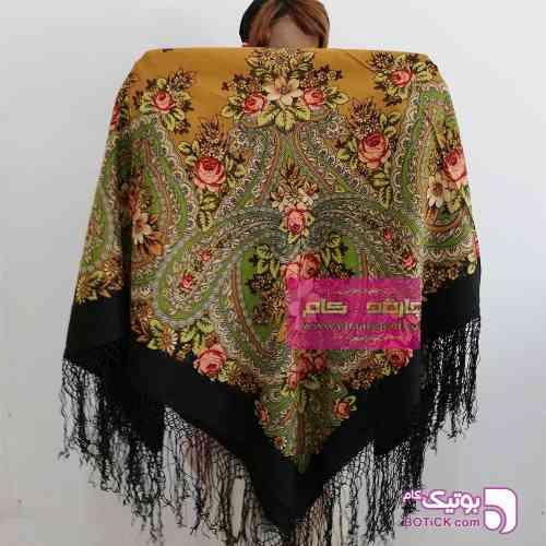 روسری ترکمنی پشمی اصیل کرم شال و روسری