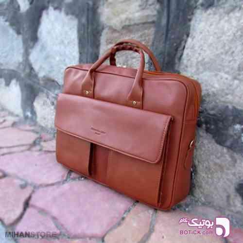 خرید کیف چرم اداری دستی رنگ عسلی و مشکی مشکی كيف مردانه