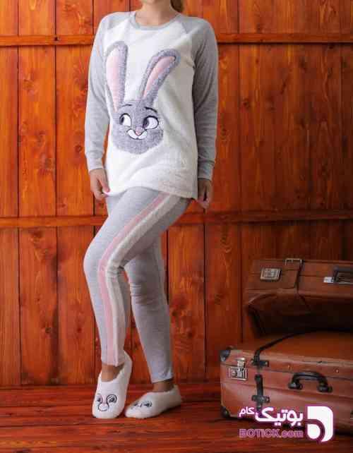 ست خرگوشی طوسی لباس راحتی زنانه