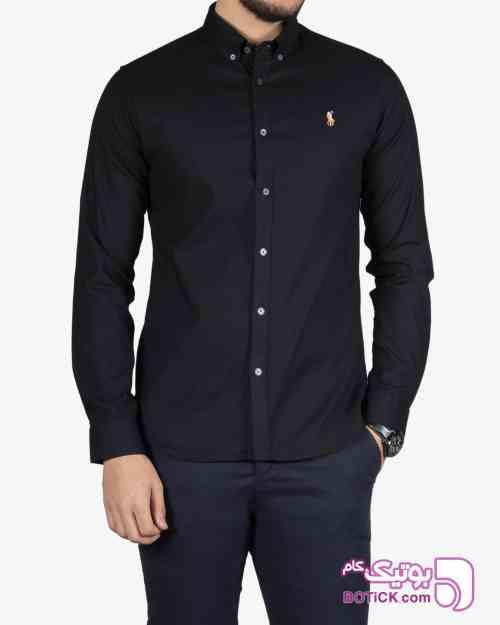 پیراهن ساده آستین بلند مردانه - سفید مشکی 97 2018