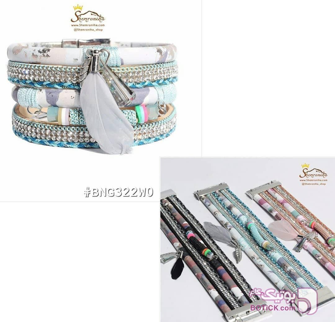 دستبند چرم 4 رشته آویز پر صورتی دستبند و پابند