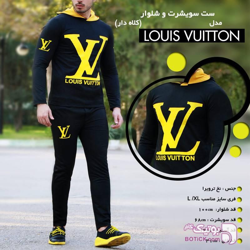 ست سویشرت و شلوار لوییس زرد ست ورزشی مردانه