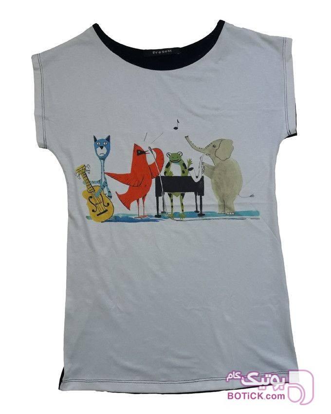 تیشرت تمام چاپ طوسی تی شرت زنانه