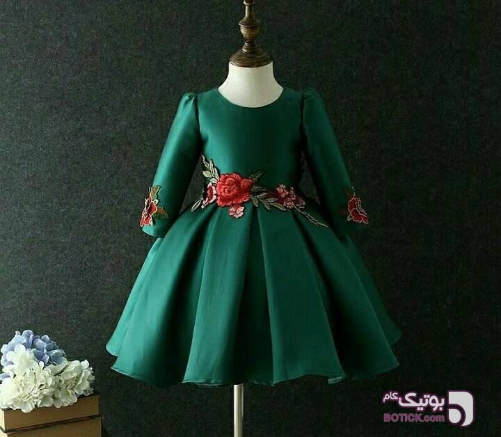 پیراهن شیک دخترانه سبز لباس کودک دخترانه