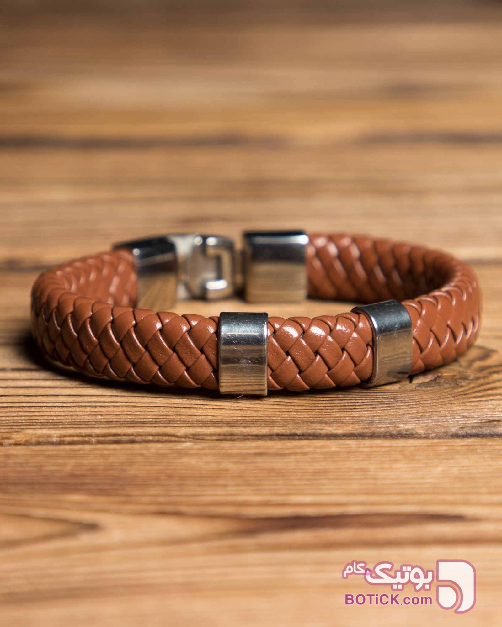 دستبند چرم طرح بافت قهوه ای دستبند و پابند