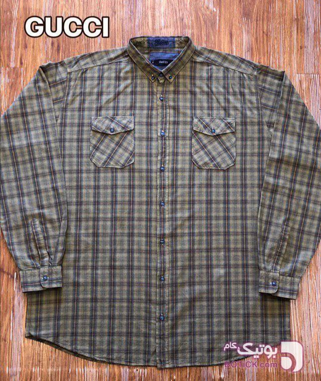 پیراهن نخ سایز بزرگ 3XL,4X,5XL,6XL قهوه ای سایز بزرگ مردانه