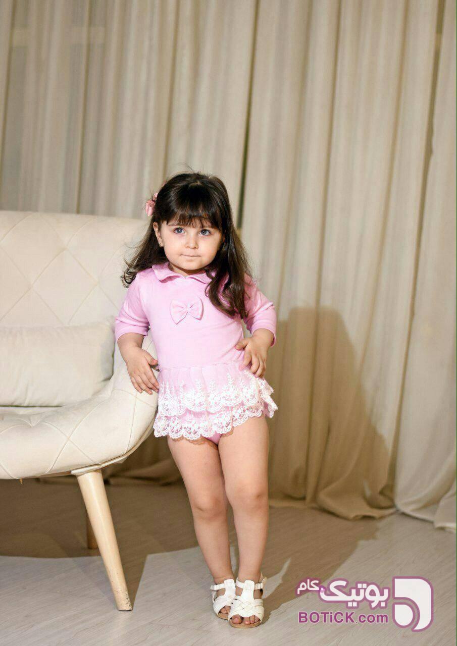 بادی دخترانه طرح سانیلا صورتی لباس کودک دخترانه