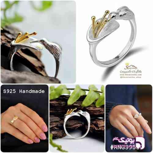 انگشتر نقره لوکس پرنده و گل شیپوری نقره ای انگشتر