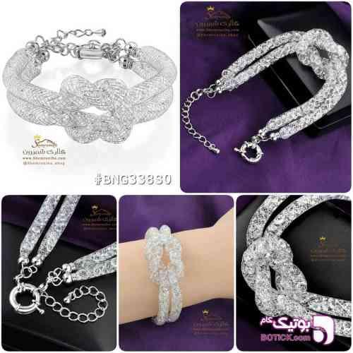 دستبند تیوبی Stardust طرح سواروسکی نقره ای دستبند و پابند