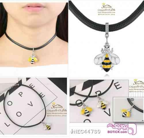 . گردنبند چوکر زنبور با بال سفید زرد گردنبند