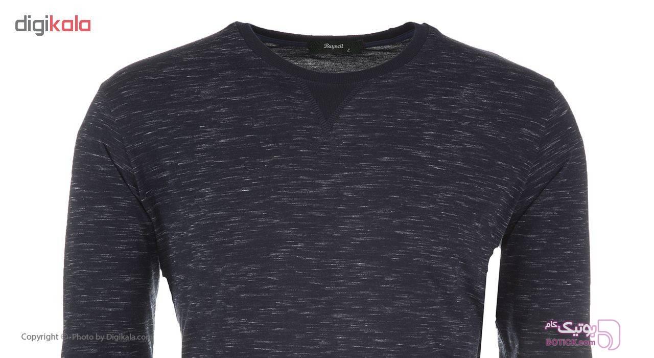 تی شرت نخی آستین بلند مردانه بای نت کد 282-1 سورمه ای بلوز