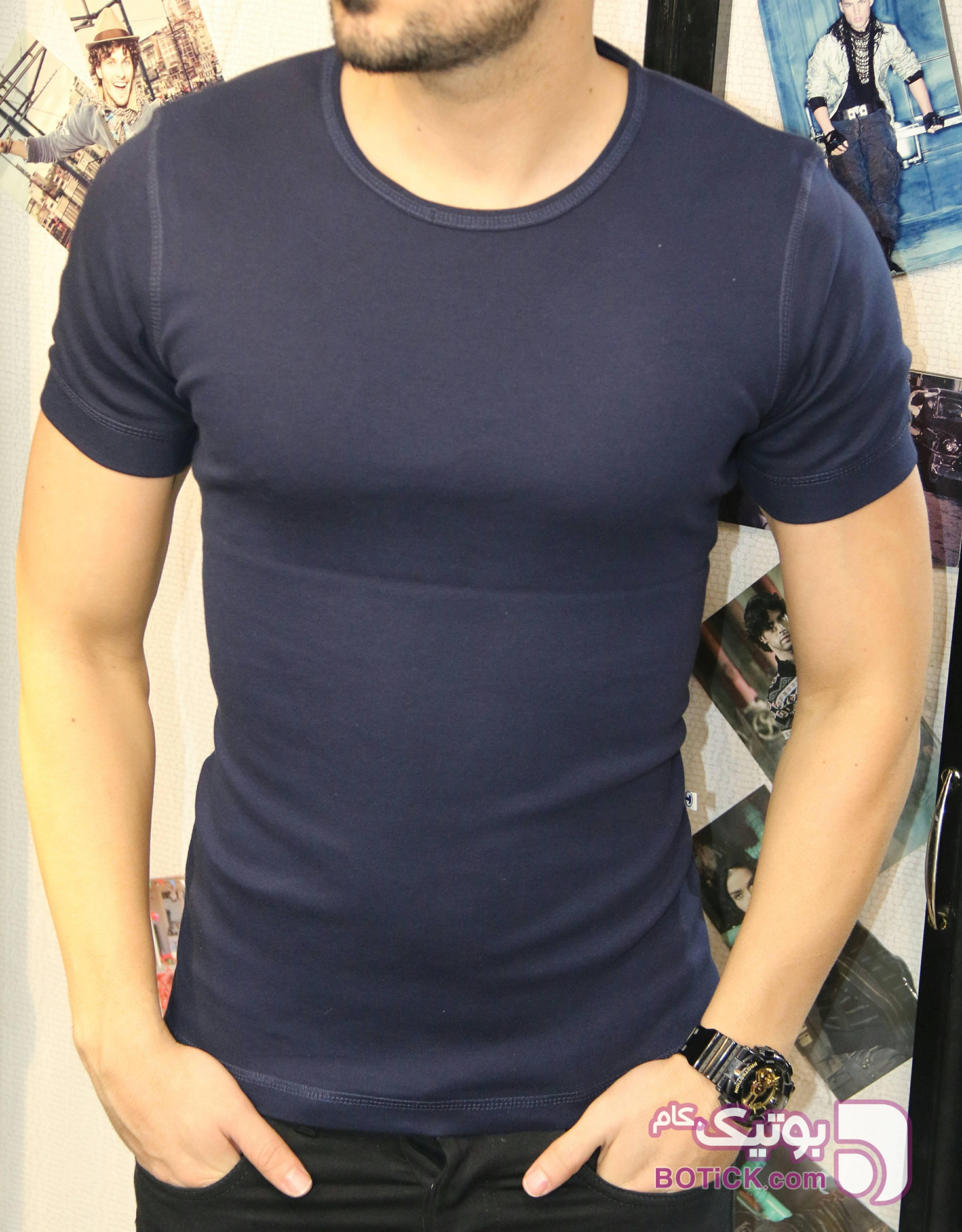 تیشرت یقه گرد ساده آبی تی شرت و پولو شرت مردانه