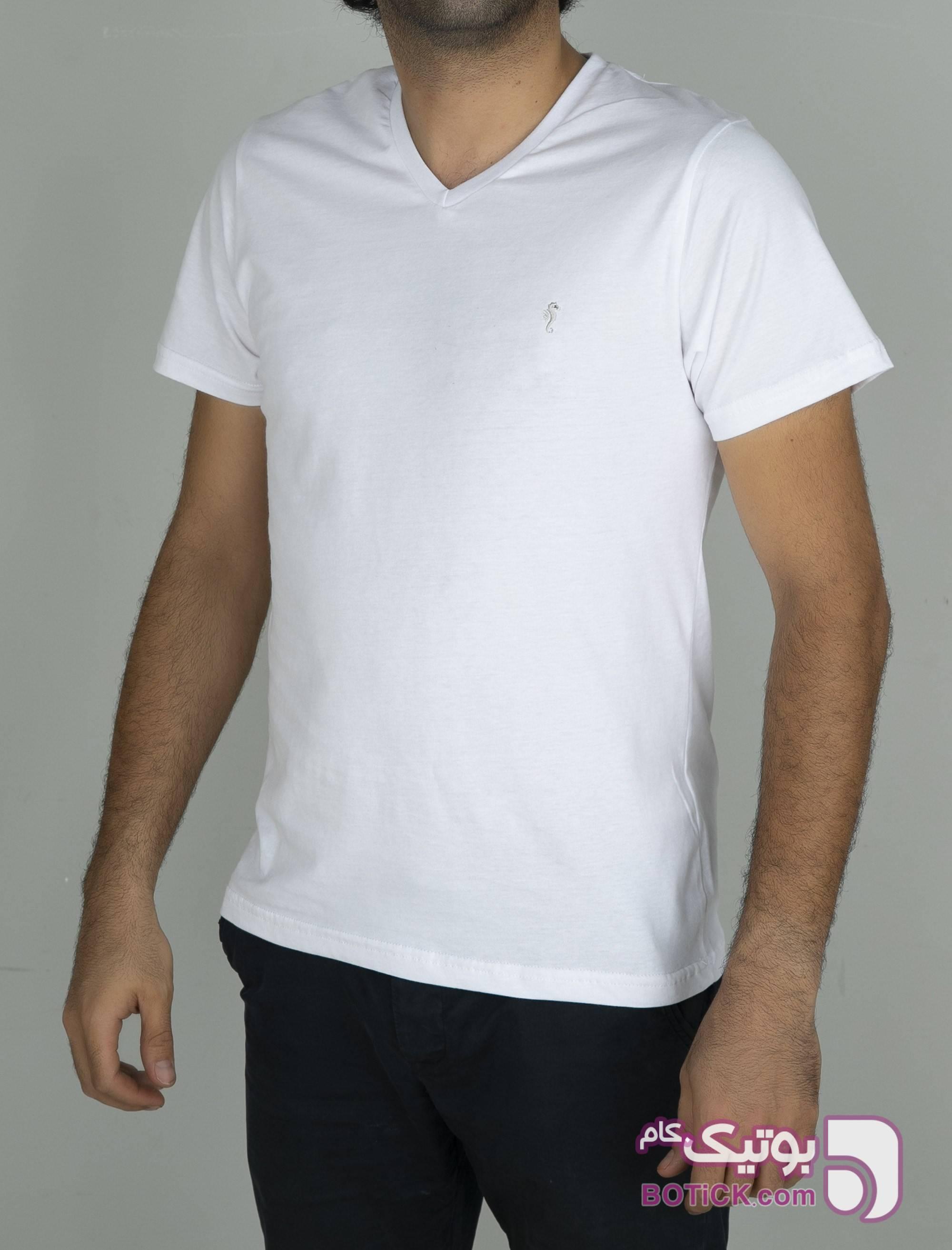 تی شرت نخی یقه هفت مردانه سفید تی شرتو پولو شرت مردانه