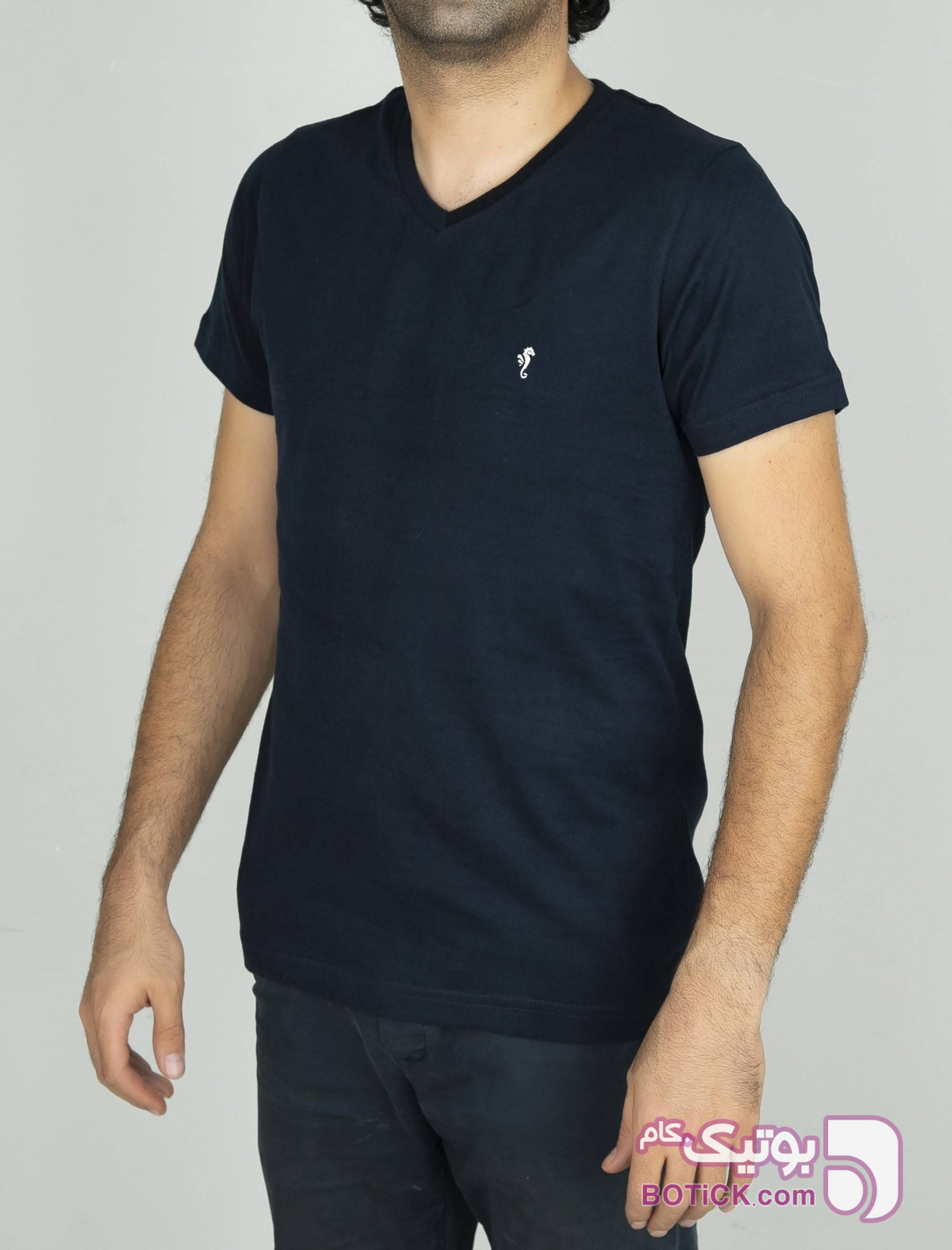 تی شرت نخی یقه هفت مردانه سورمه ای تی شرت و پولو شرت مردانه