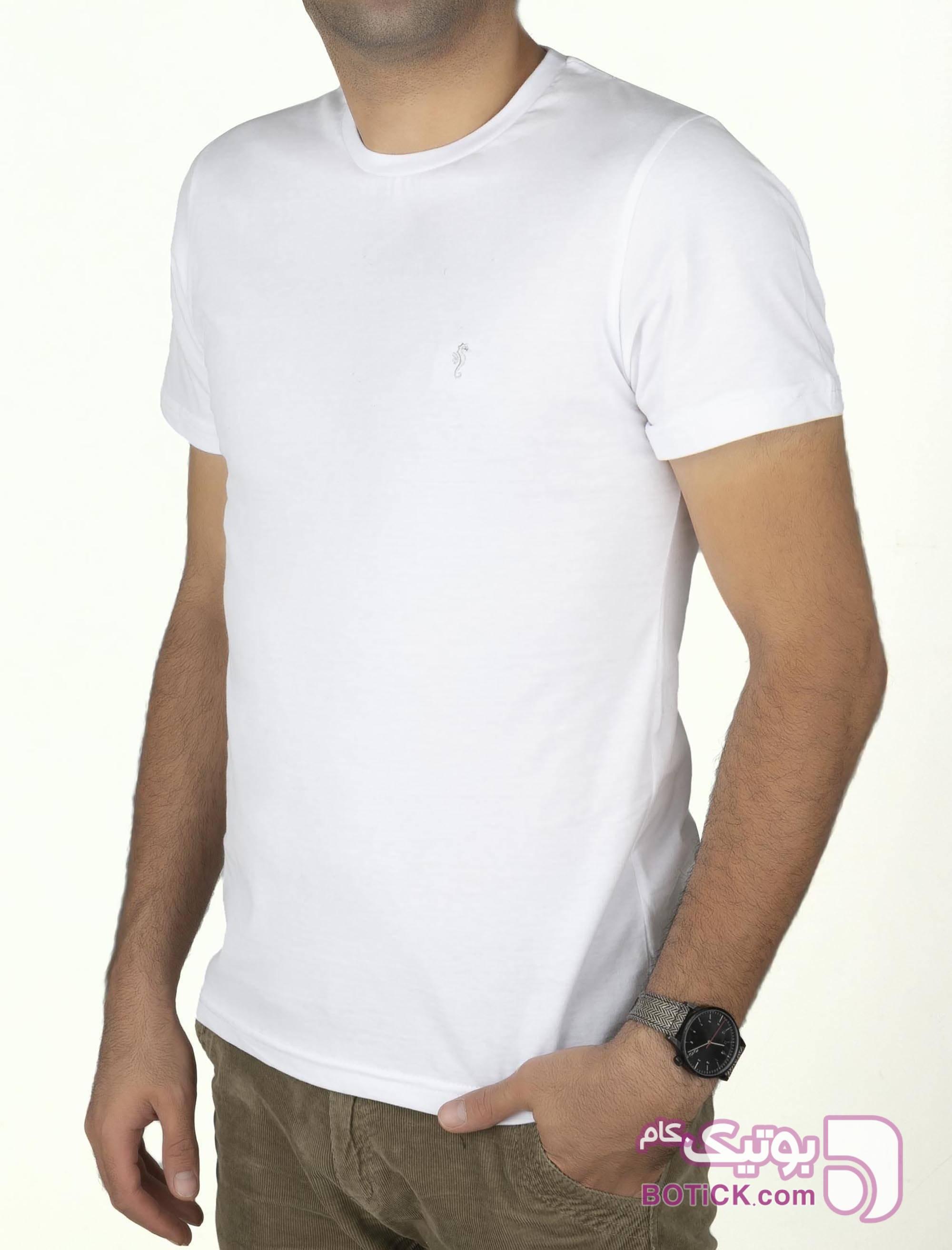 تی شرت نخی یقه گرد مردانه سفید تی شرتو پولو شرت مردانه
