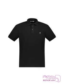 پولوشرت نخی آستین کوتاه مردانه مشکی تی شرتو پولو شرت مردانه