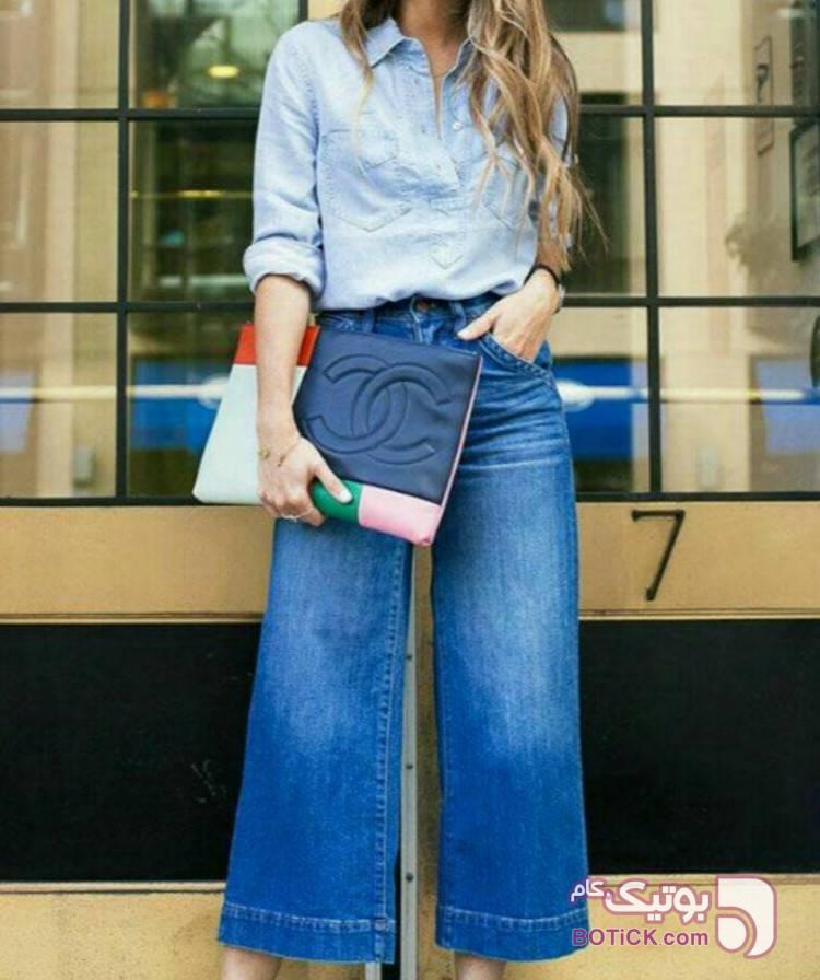 شلوار جین گشاد  آبی شلوار جین زنانه
