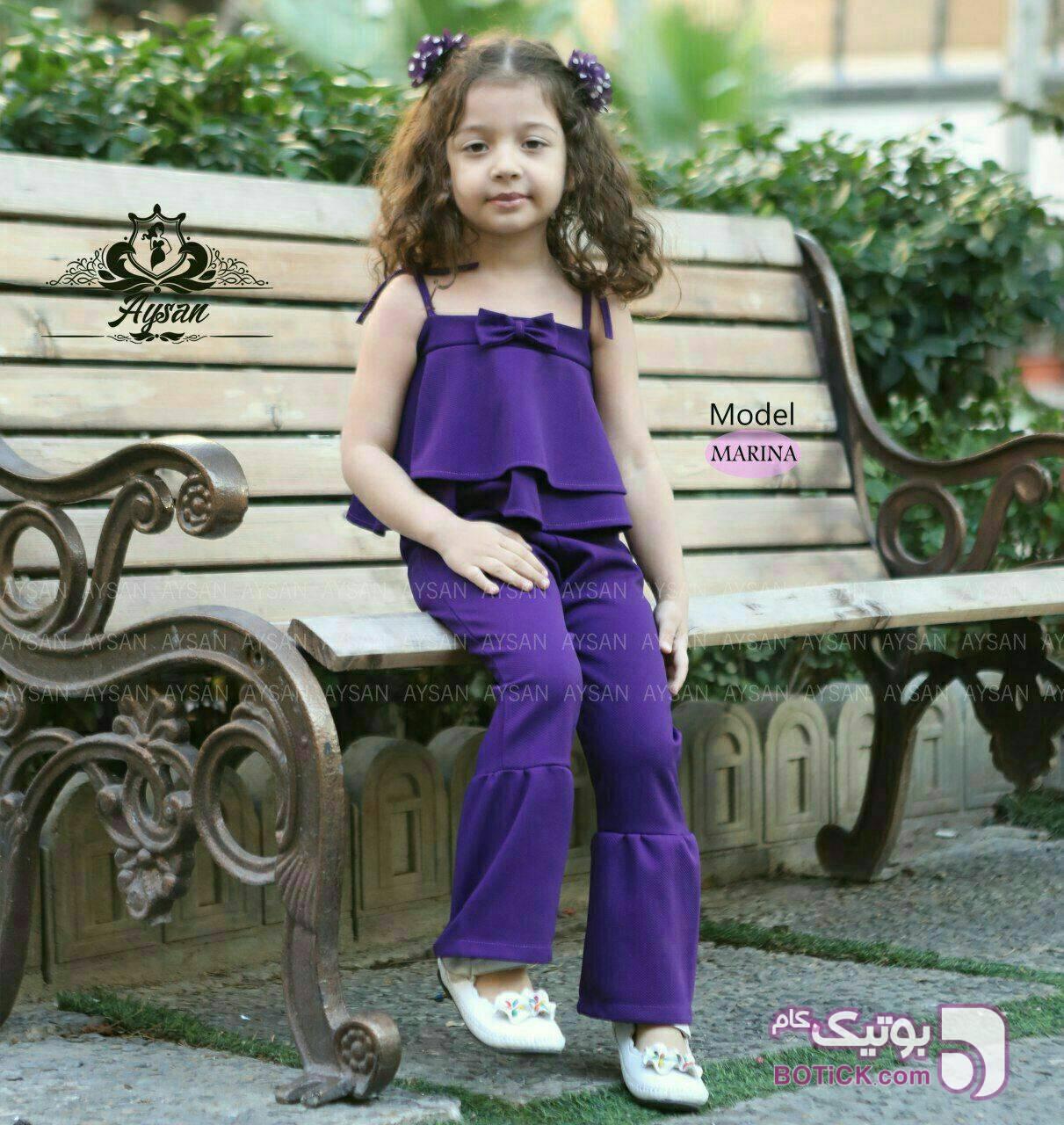 سرهمی بچگانه مارینا آبی لباس کودک دخترانه