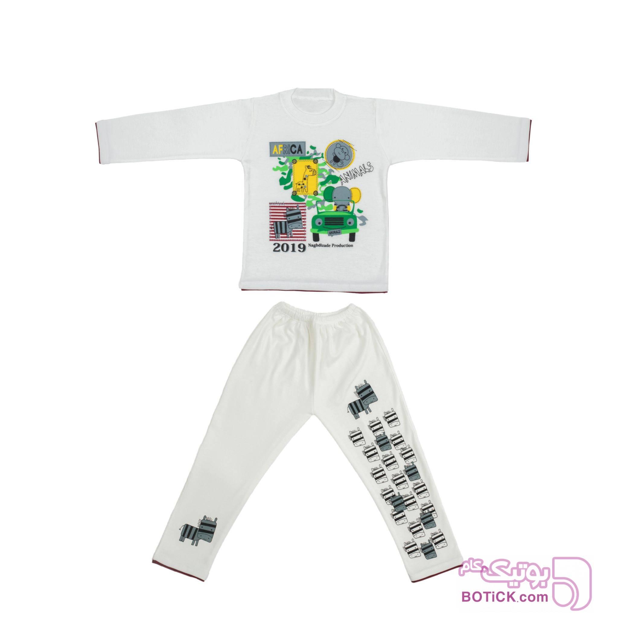 ست بلوز و شلوار راحتی پسرانه کد SD201 سفید لباس کودک پسرانه