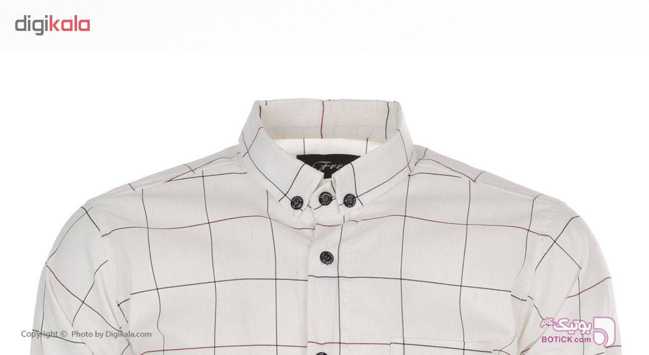 پیراهن مردانه فرد مدل P.Baz.158 سفید پيراهن مردانه