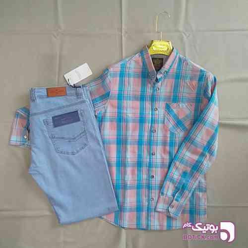 پیراهن پنبه ای و شلوار جین کش - پيراهن مردانه