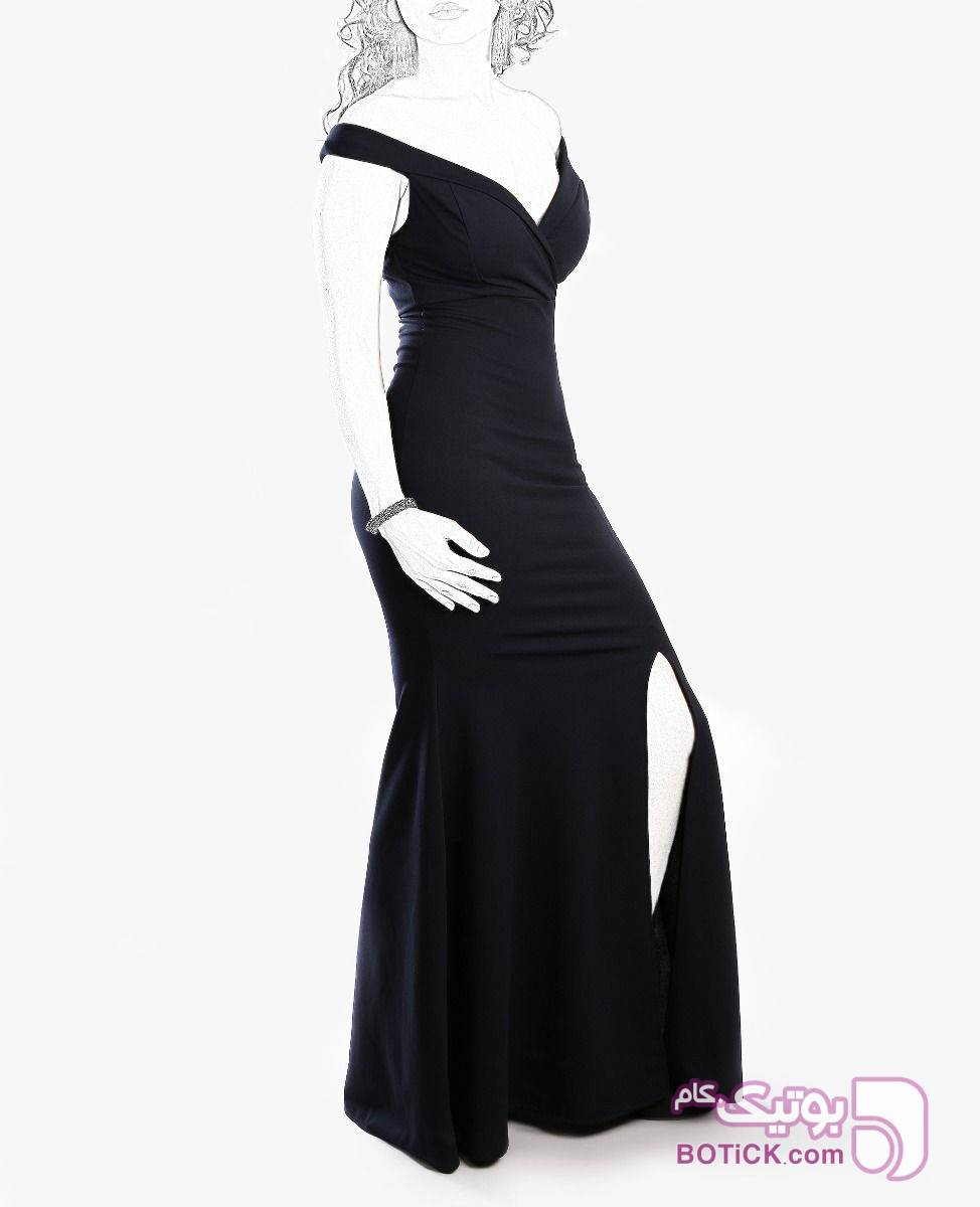 لباس مجلسی بلند زنانه Fashion مدل 7290 سورمه ای پيراهن و سارافون زنانه