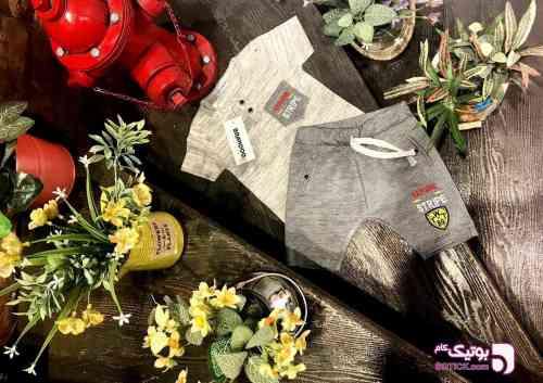 بلوز شلوارک نخی پسرانه کرم 98 2019