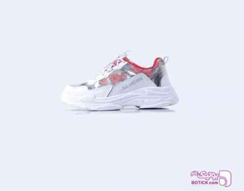 کفش اسپرت سفید قرمز دخترانه سفید 98 2019