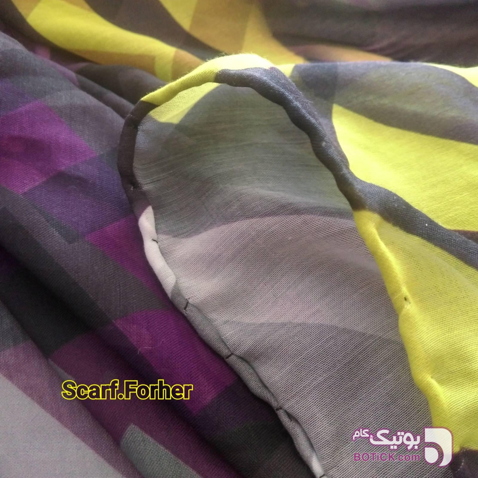 روسری زنانه نخی دور دست دوز مدل SFH-118 بنفش شال و روسری