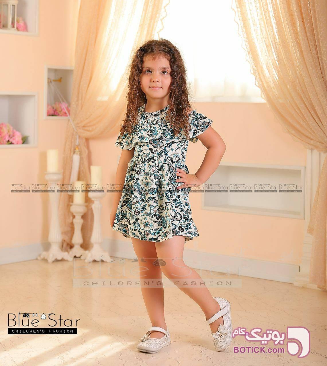 سارافون نخی دخترانه سبز لباس کودک دخترانه