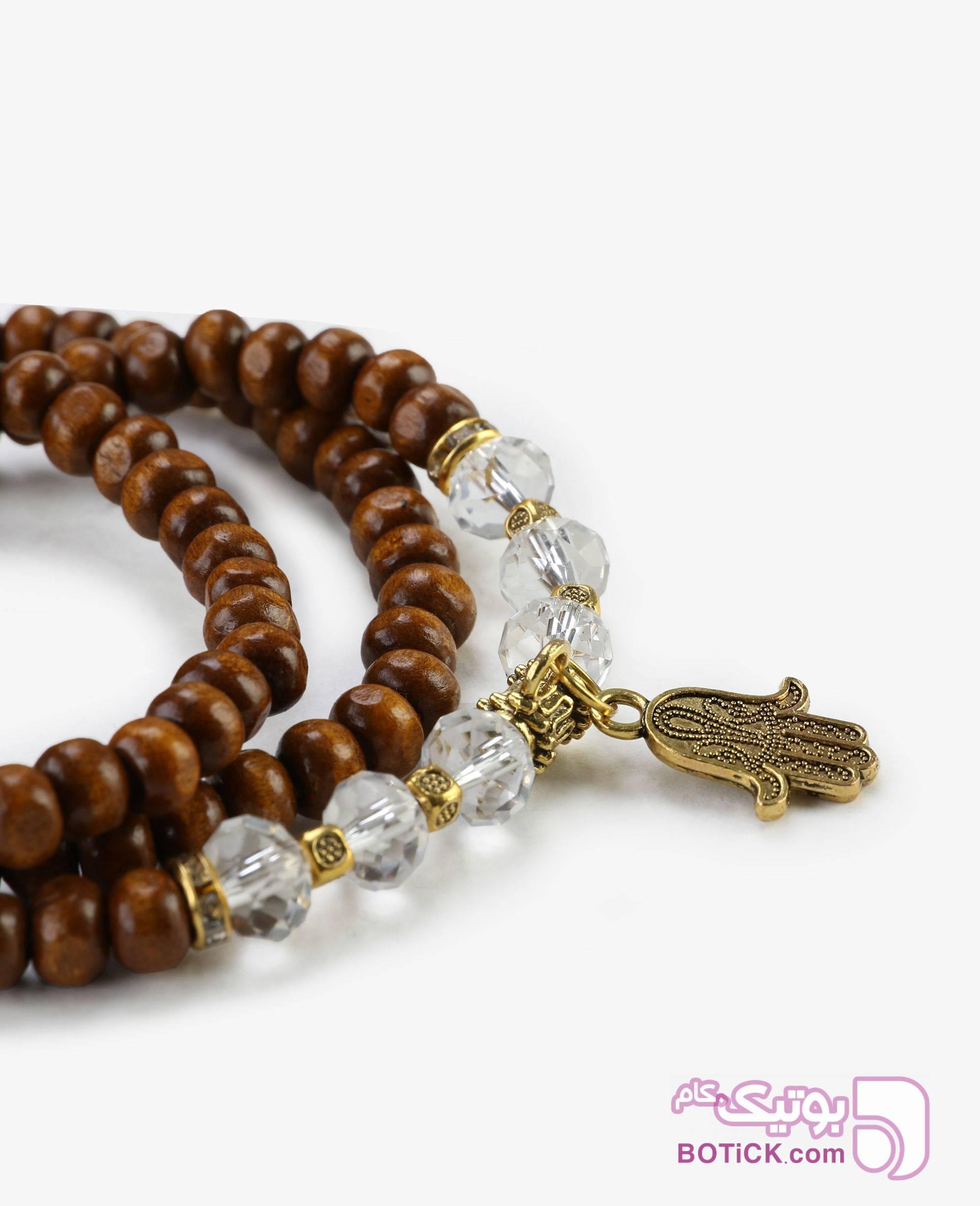 دستبند مهر ه ای چوبی و کریستال مدل 2100 قهوه ای دستبند و پابند