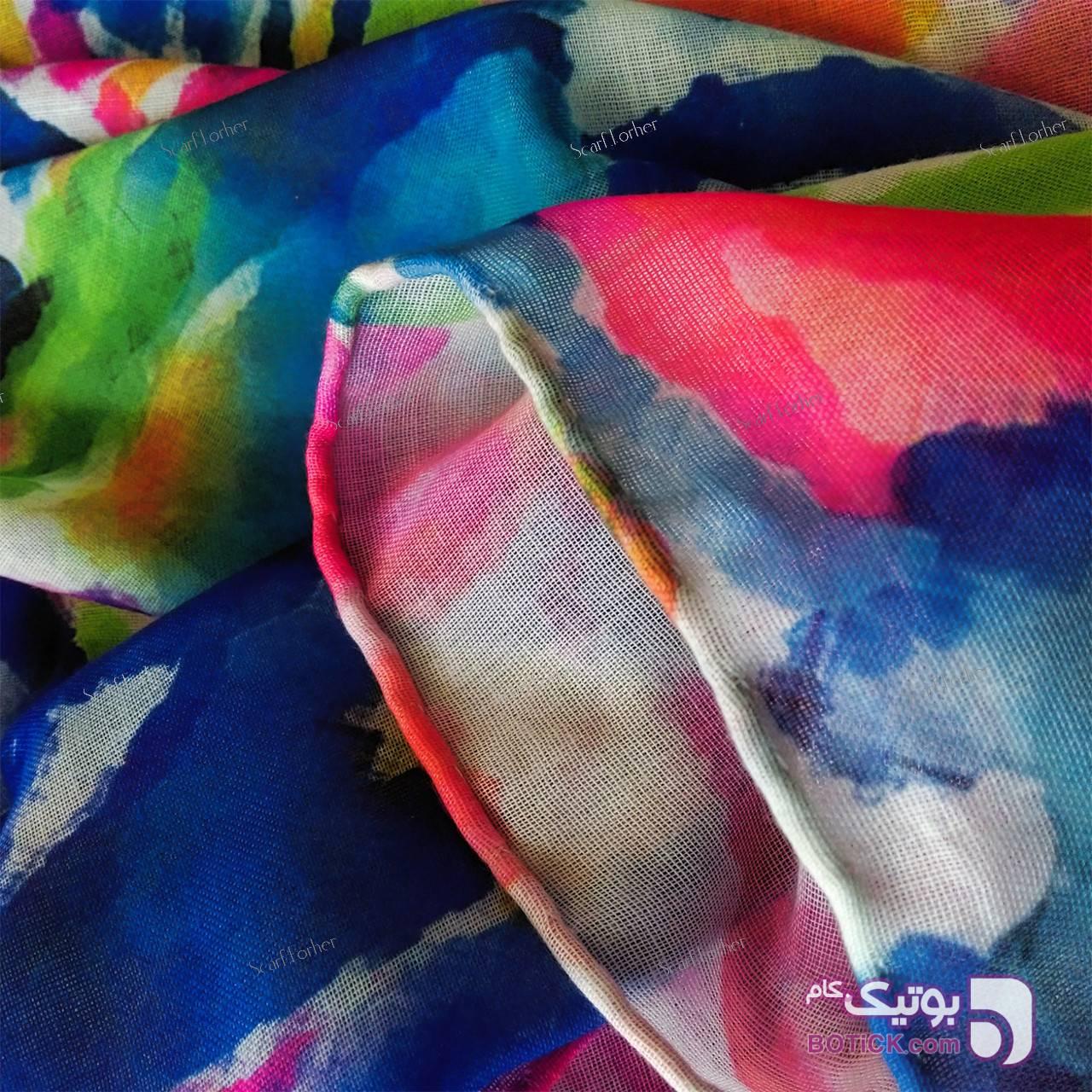 روسری زنانه نخی دور دست دوز مدل SFH-158 سبز شال و روسری