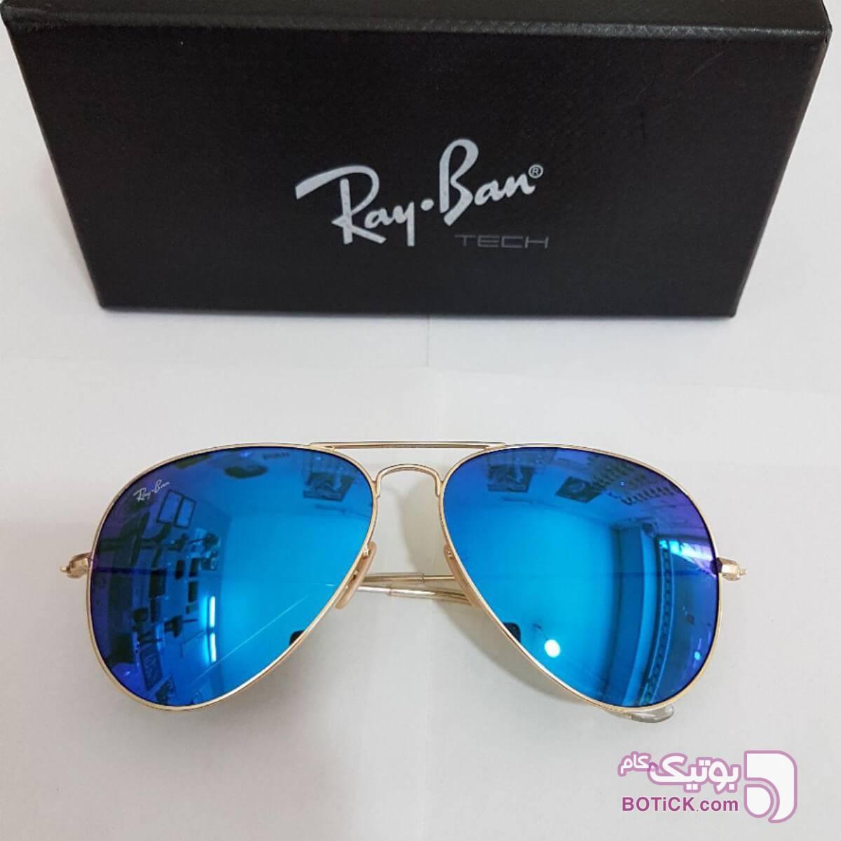 عینک خلبانی شیشه آبی+کیف و دستمال آبی عینک آفتابی