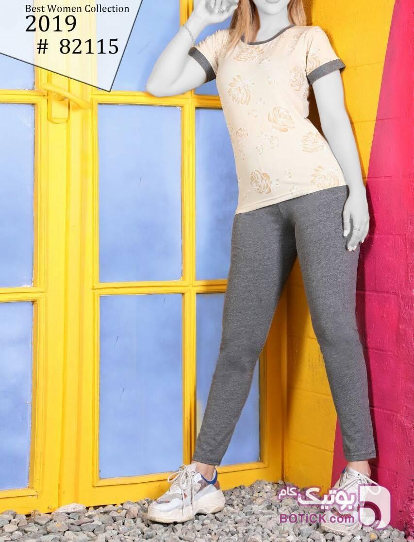 تاپ و شلوار شیک راحتی  زرد لباس راحتی زنانه