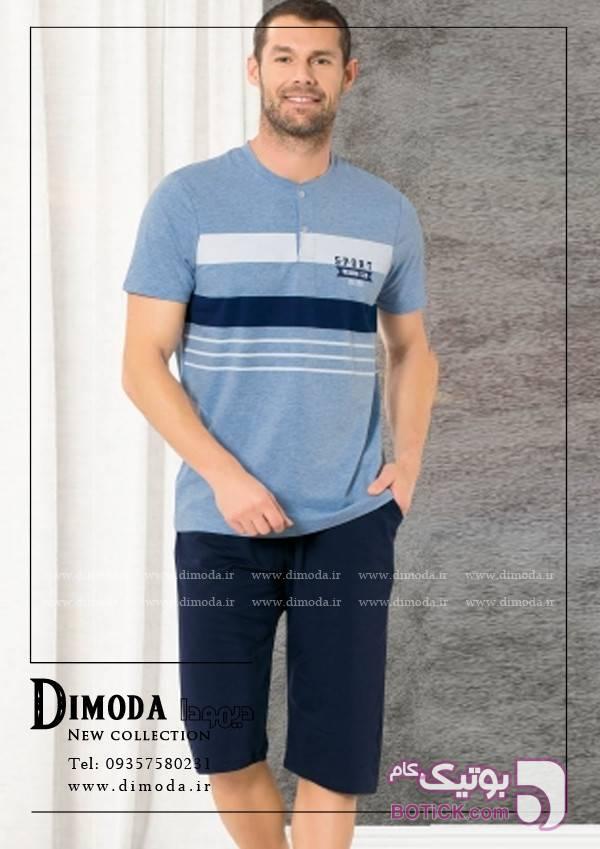 تی شرت و شلوارک ترک مردانه Ozkan11326 آبی لباس راحتی مردانه