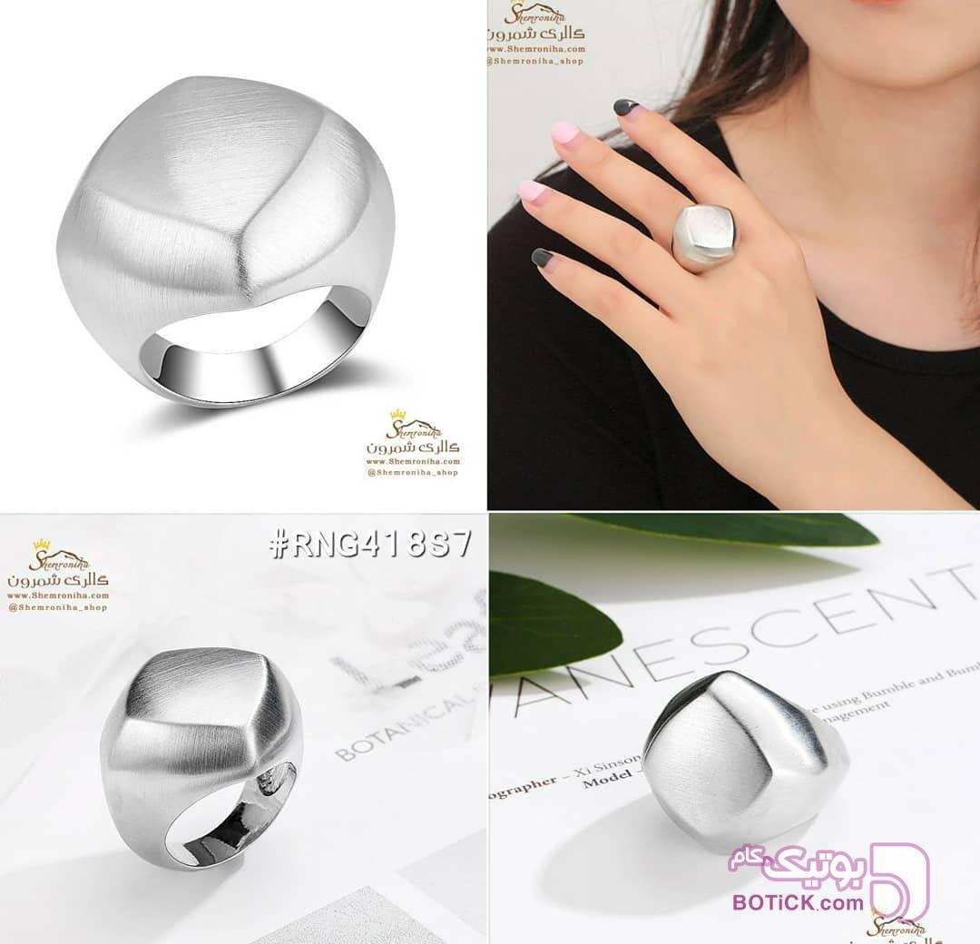 انگشتر برجسته هندسی نقره ای انگشتر